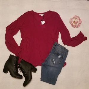 Tops - 《Clearance》Red Wine Blouse